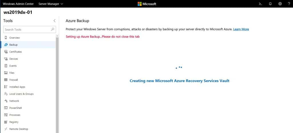 Windows Admin Center Setting up Azure Backup