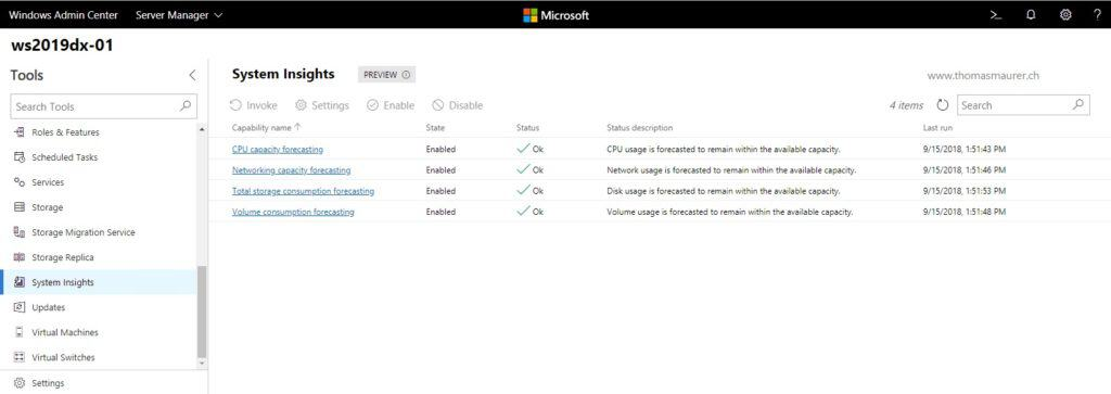 Windows Admin Center System Insights