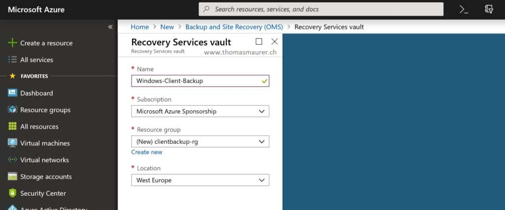 Create Azure Recovery Services vault