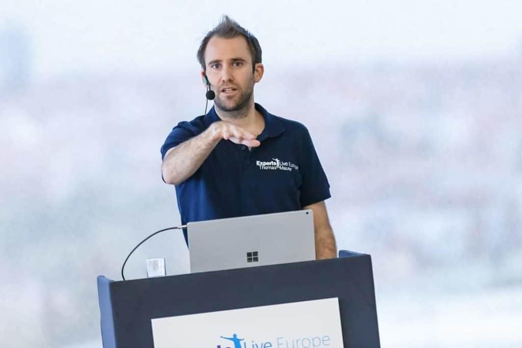 Thomas Maurer speaking at Experts Live Europe