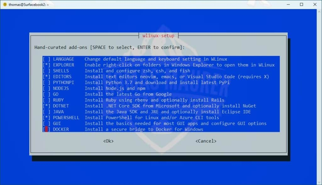WLinux WSL Setup Wizard for Windows 10