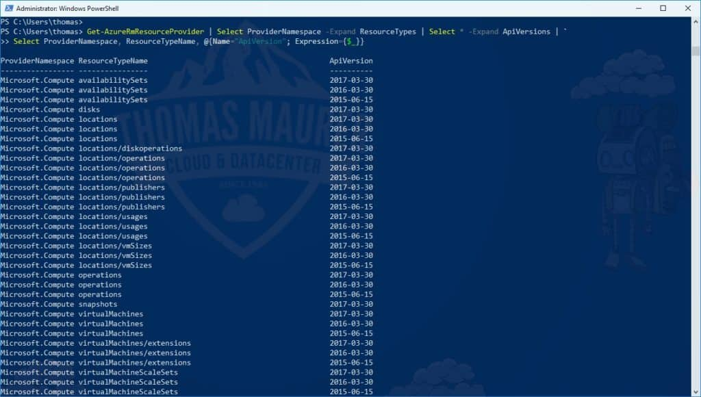 Azure Stack API Verions PowerShell