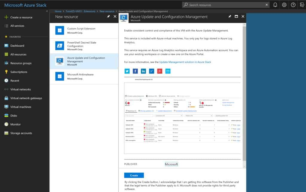 Azure Stack Azure Update and Configuration Management Extension
