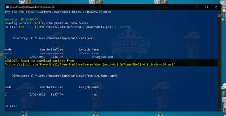 Install or Update PowerShell 6 on Windows 10