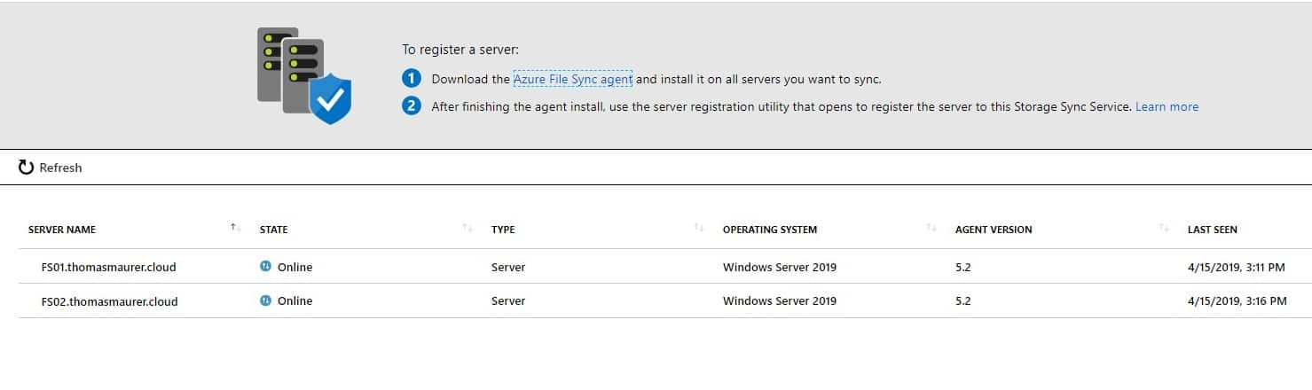 Azure File Sync Windows Admin Center