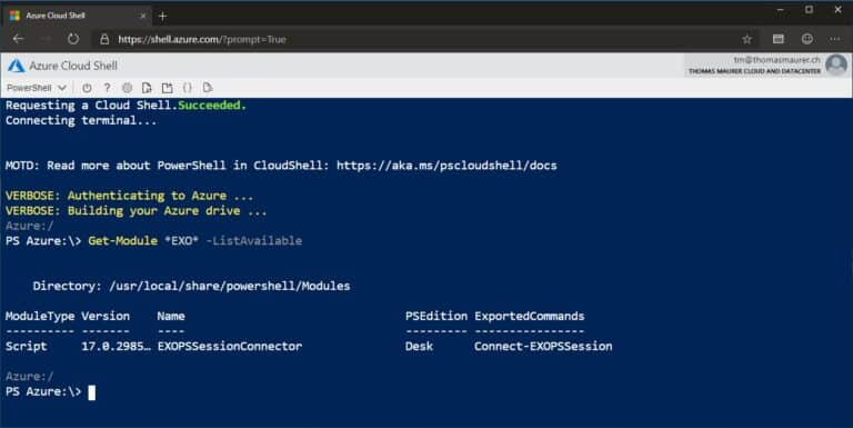 Cloud Shell Office 365 Exchange Online PowerShell Module