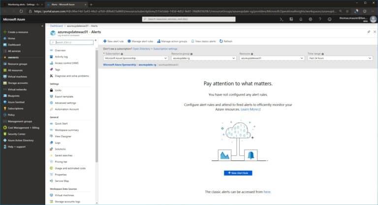 Azure Monitor New Alert Rule