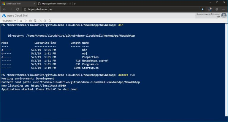 Cloud Shell Web Preview dotnet
