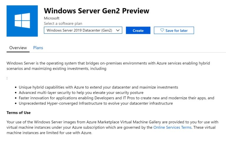 Windows Server Azure Generation 2 Virtual Machine