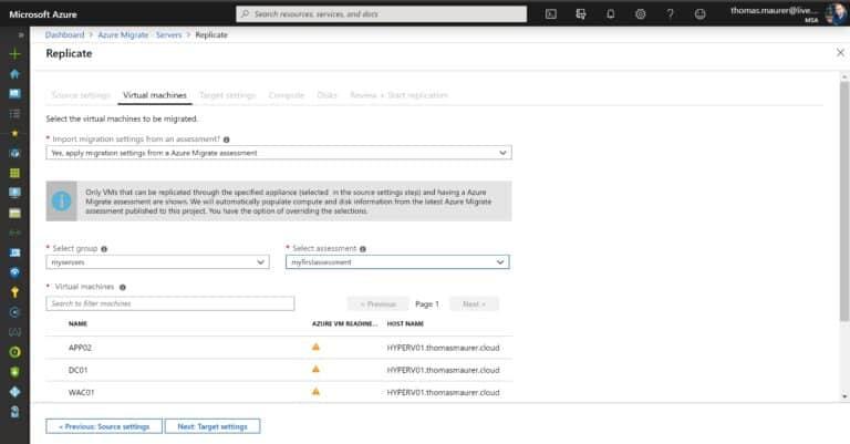 Azure Migrate Select Hyper-V VMs