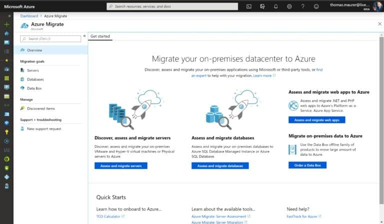 Azure Portal Azure Migrate