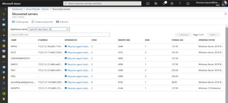 Discovered servers Azure Portal