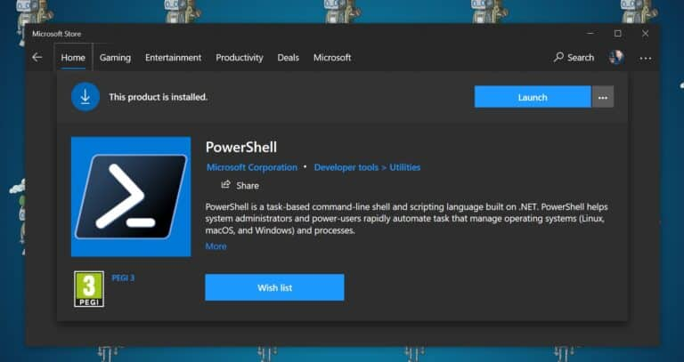 Download and install PowerShell in the Microsoft Store