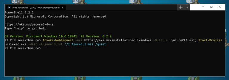 Install Azure CLI on Windows using PowerShell
