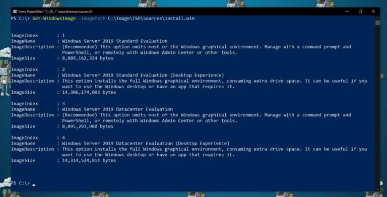 PowerShell Get-WindowsImage Windows Server 2019 Editions