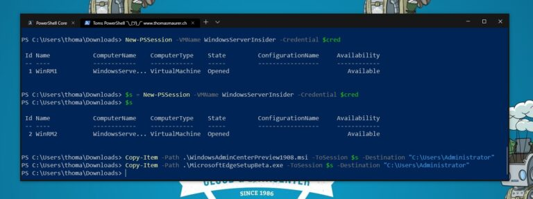 Copy Windows Admin Center MSI to Windows Server Core VM PowerShell Direct