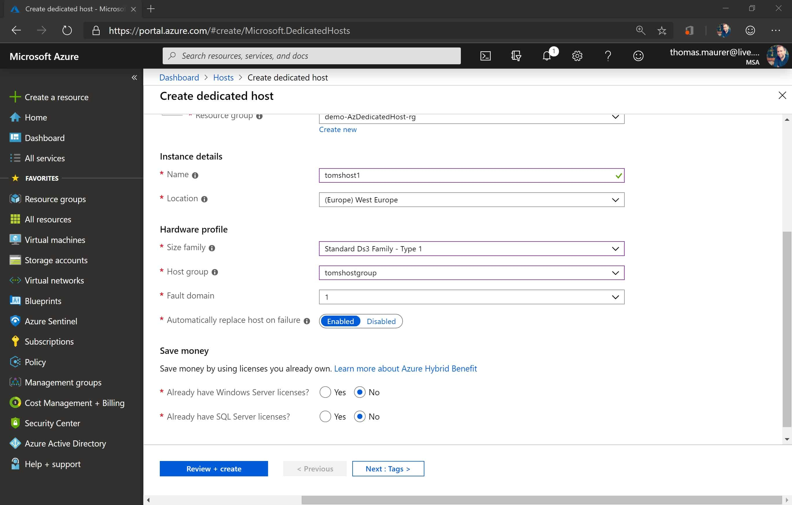 Create Azure Dedicated Host