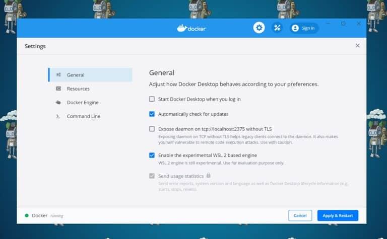 Docker for Windows Settings WSL 2