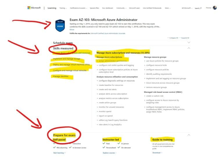 Microsoft Azure Exam Page - Skills measured and Prepare for exam