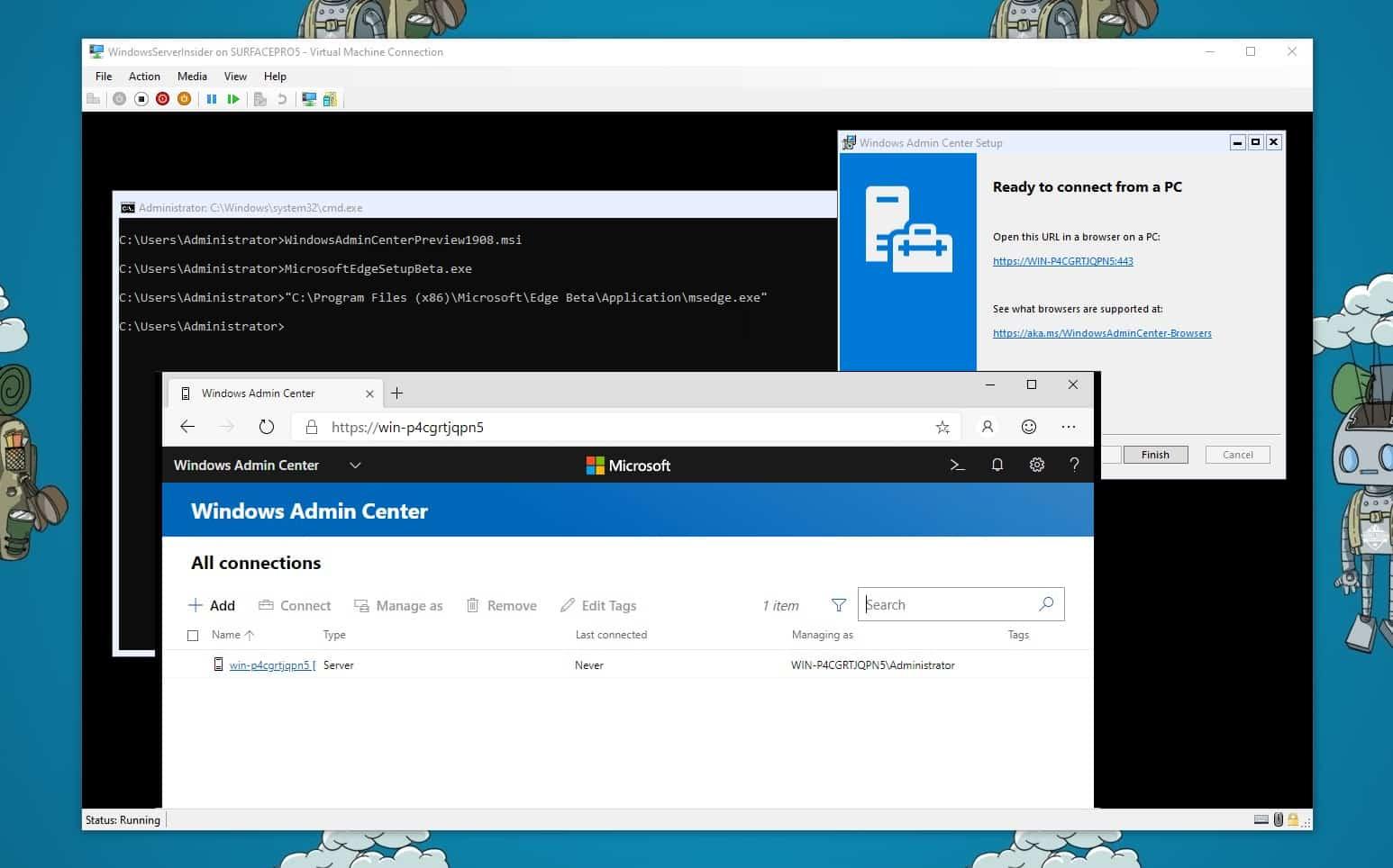 Run Windows Admin Center on Windows Server Core