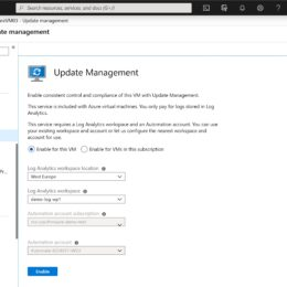Azure IaaS VM enable Update Management