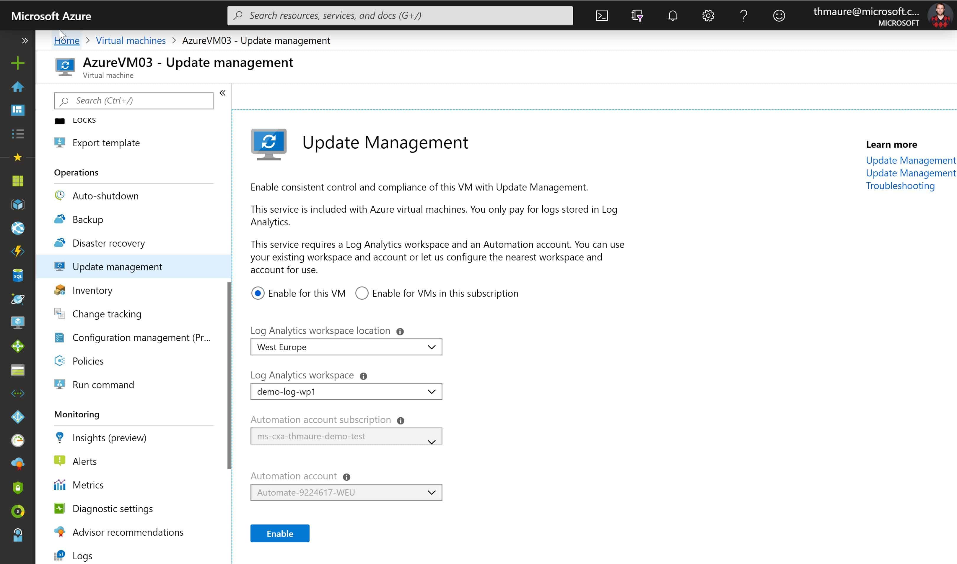 Azure IaaS VM enable Update Management