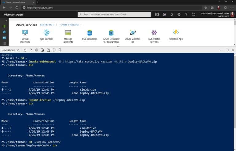 Download Windows Admin Center with PowerShell in Cloud Shell