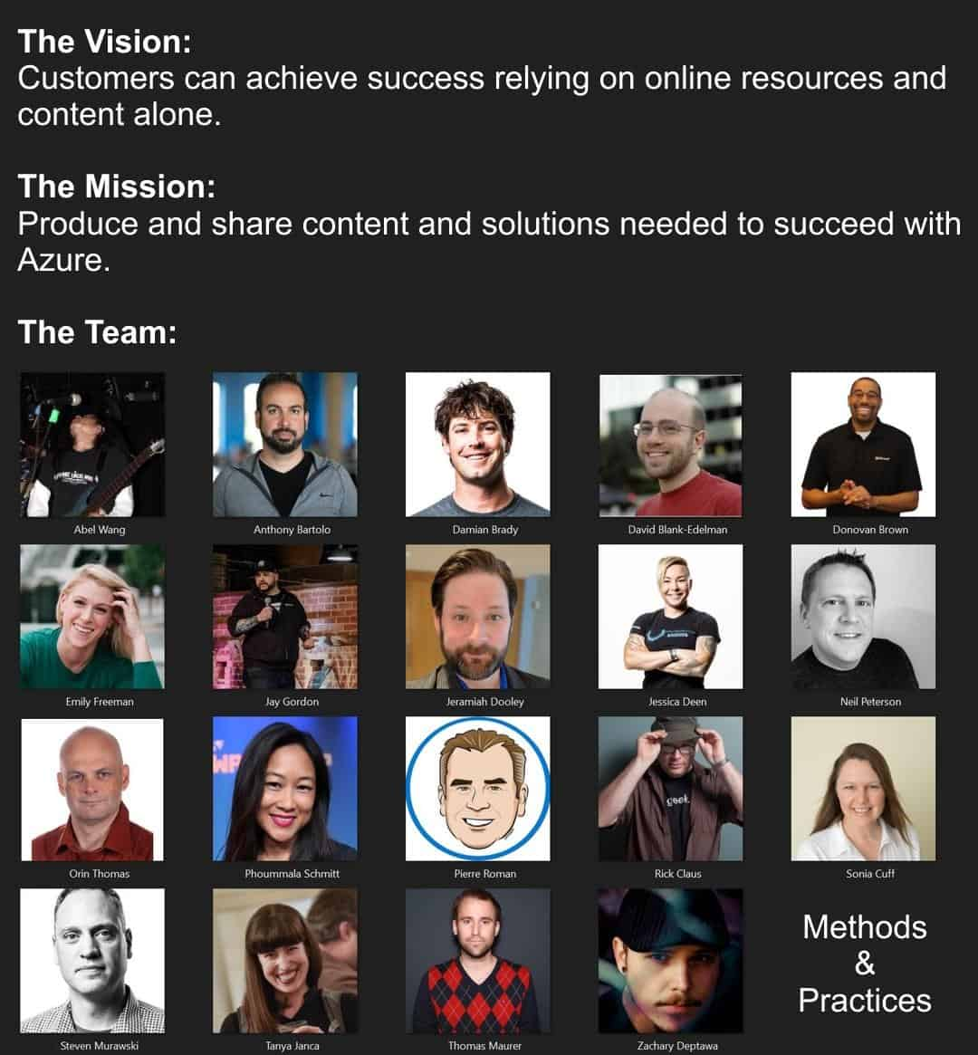 Microsoft Cloud Advocacy Methods and Practices Team