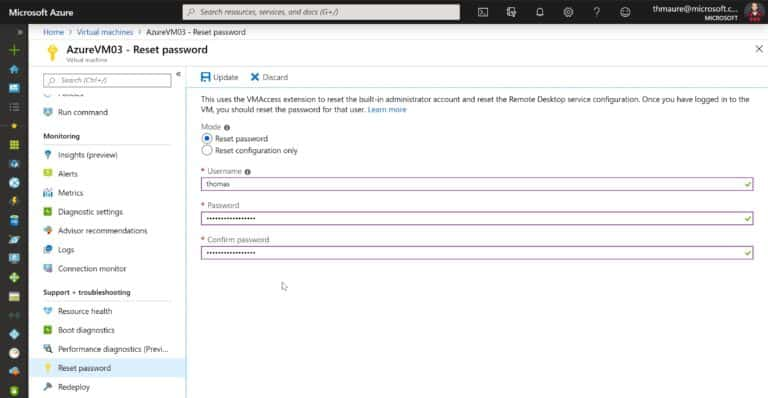Reset Administrator Password of an Azure VM