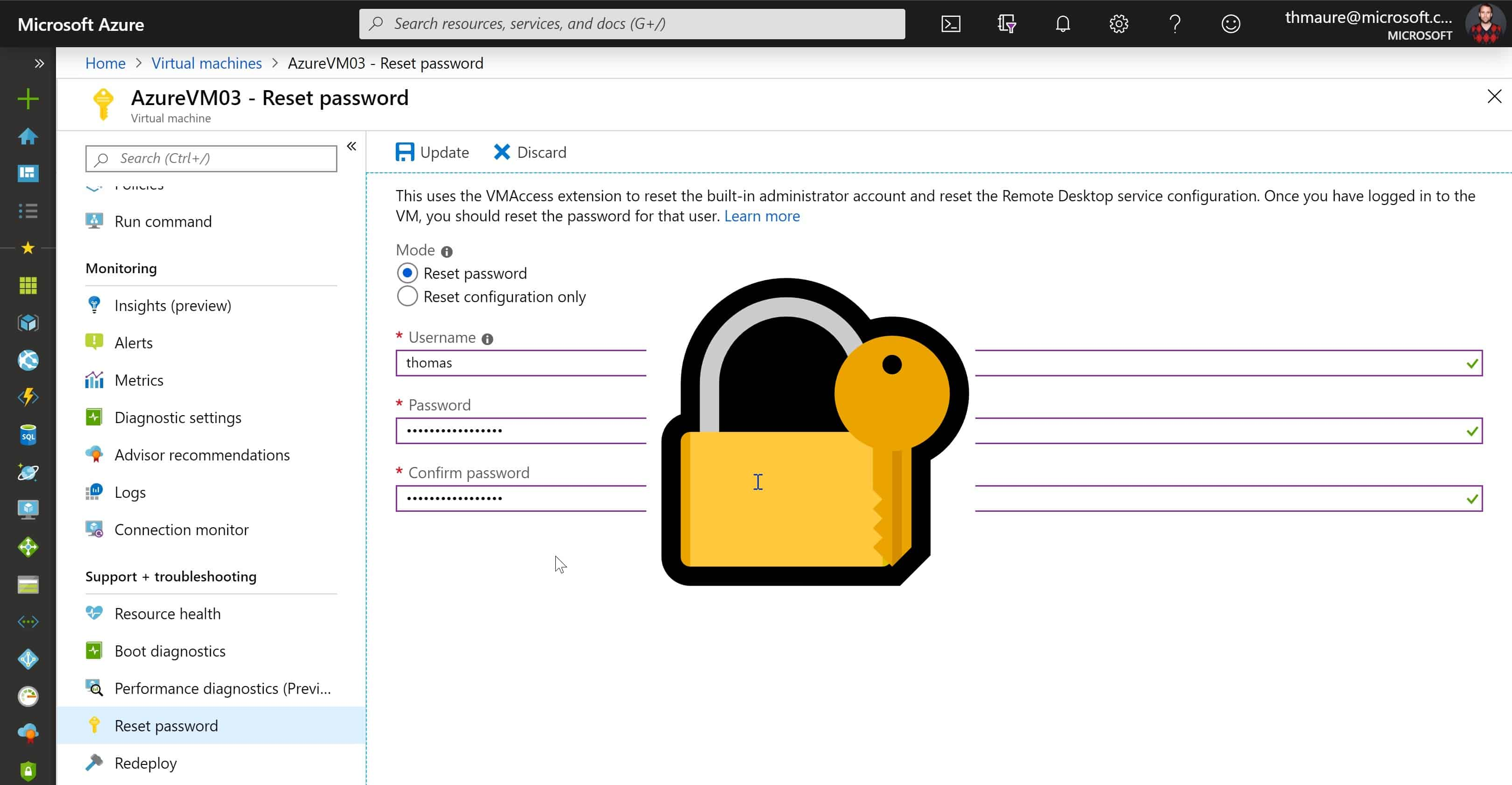 Reset RDP and Admin Password Azure VM