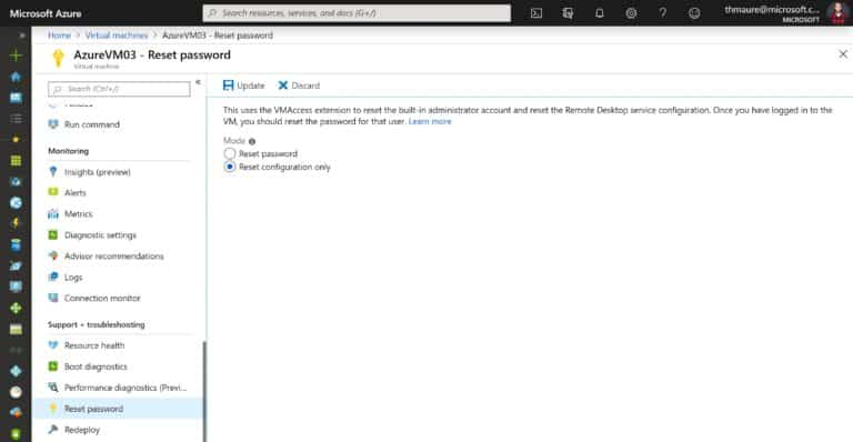 Reset Remote Desktop Services RDP of an Azure VM
