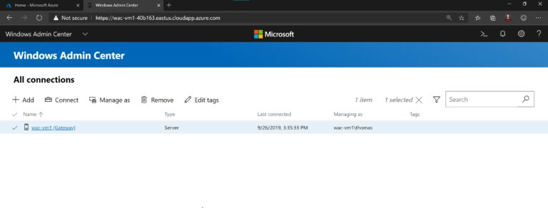 Windows Admin Center Running in Microsoft Azure