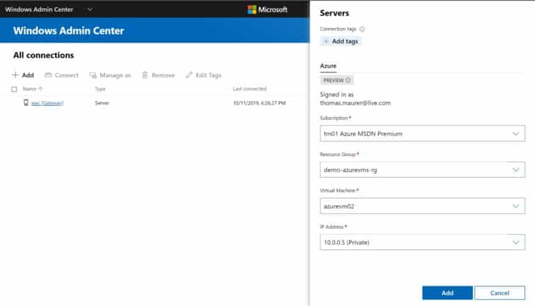 Add Azure VM in Windows Admin Center