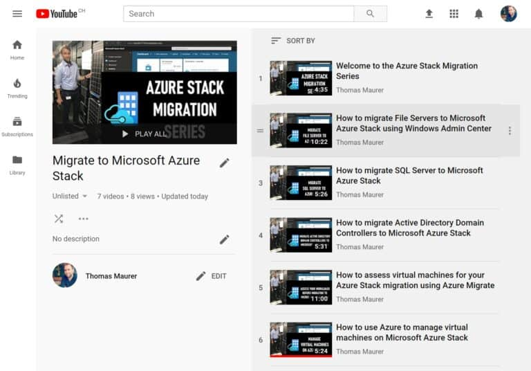 Azure Stack Migration Series YouTube Playlist