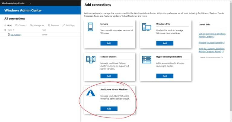 Connect Azure VMs with Windows Admin Center
