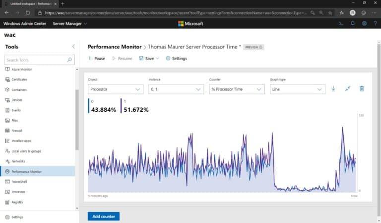 Windows Admin Center Performance Monitor