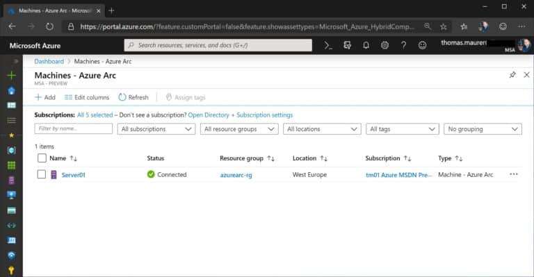 Azure Arc Server in Portal