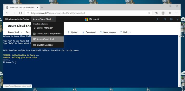 Start Cloud Shell in Windows Admin Center