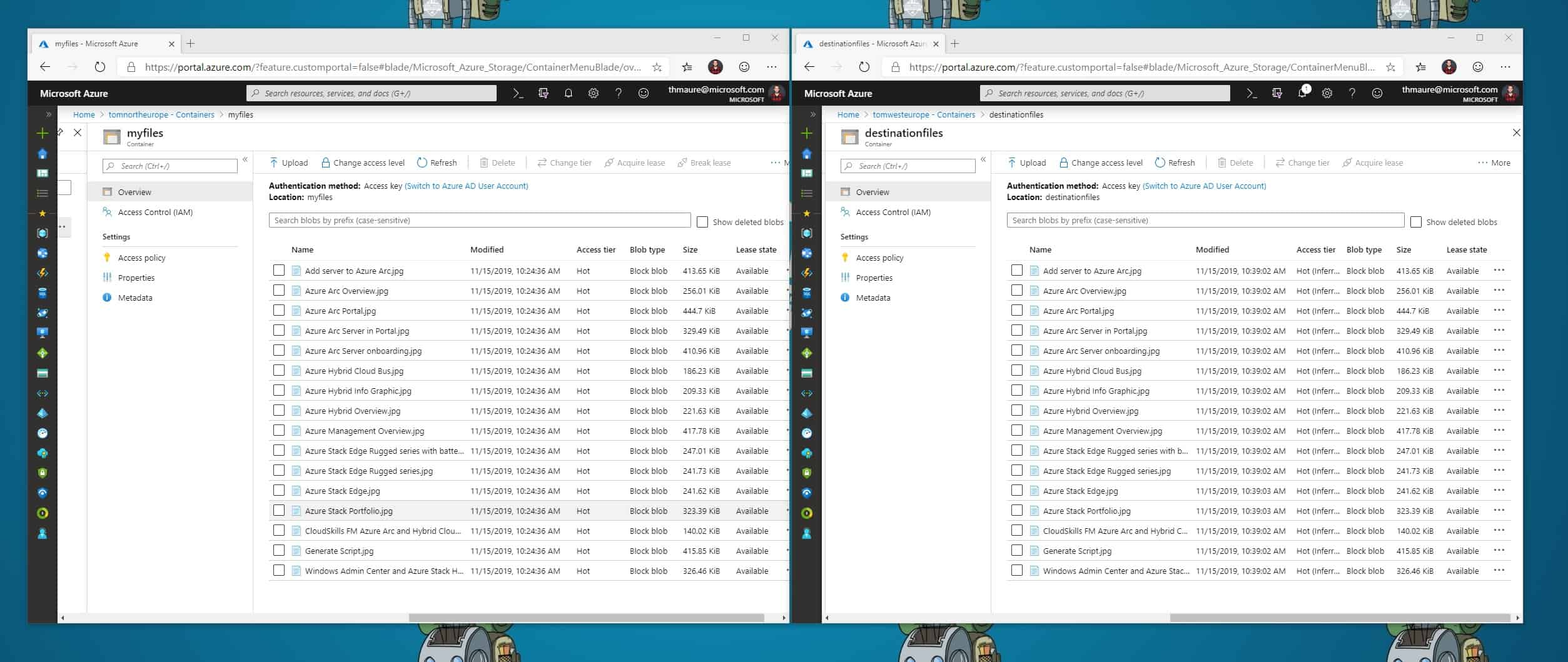 Synced Azure Storage Accounts