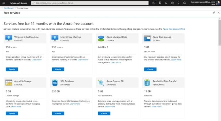 Learn with Free Azure services