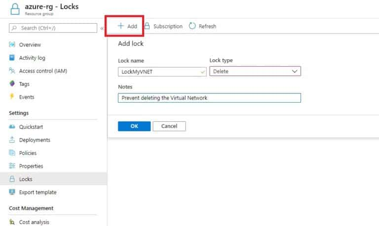 Add a lock to an Azure Resource Group