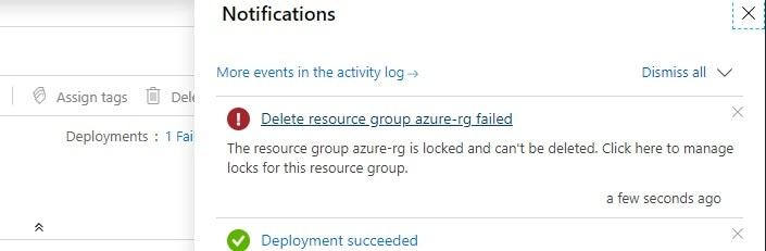 Azure Resource Group is locked and can't be deleted