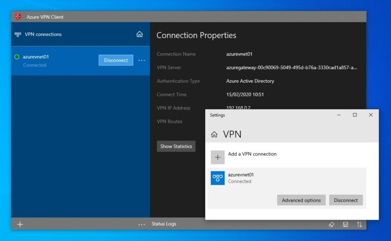Azure Active Directory Azure VPN connected
