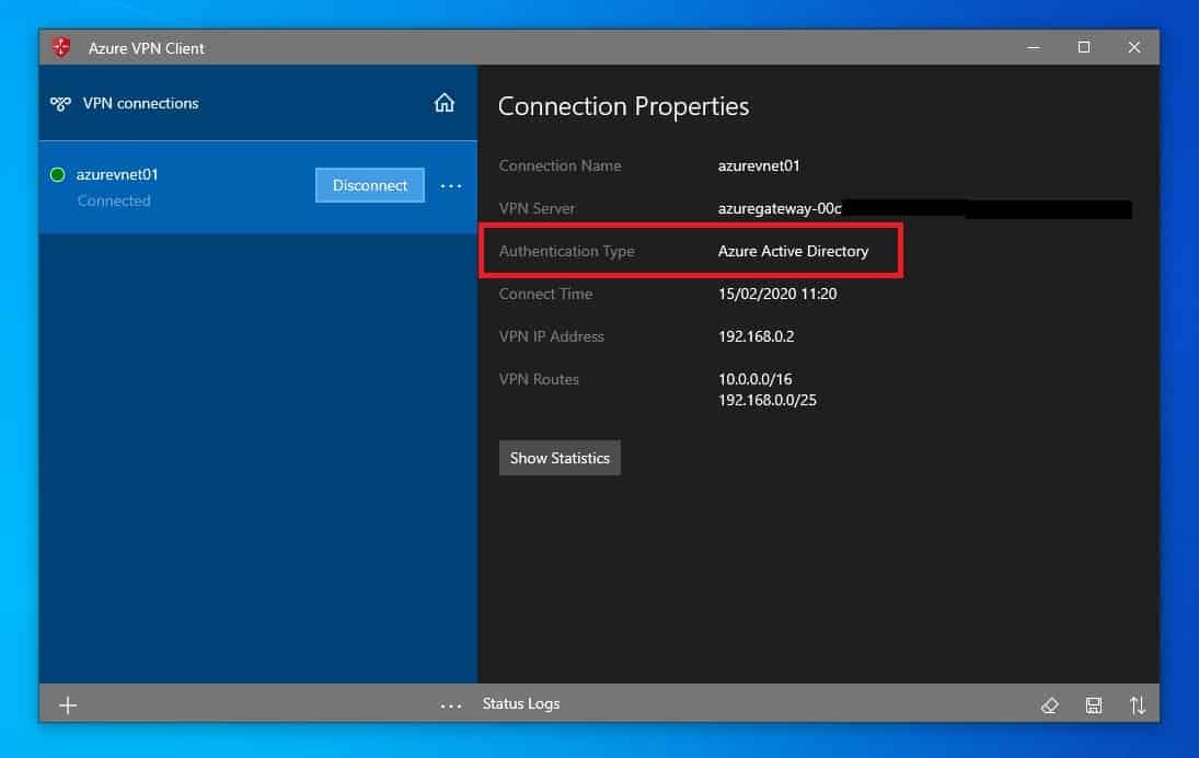 Azure VPN Azure Active Directory authentication