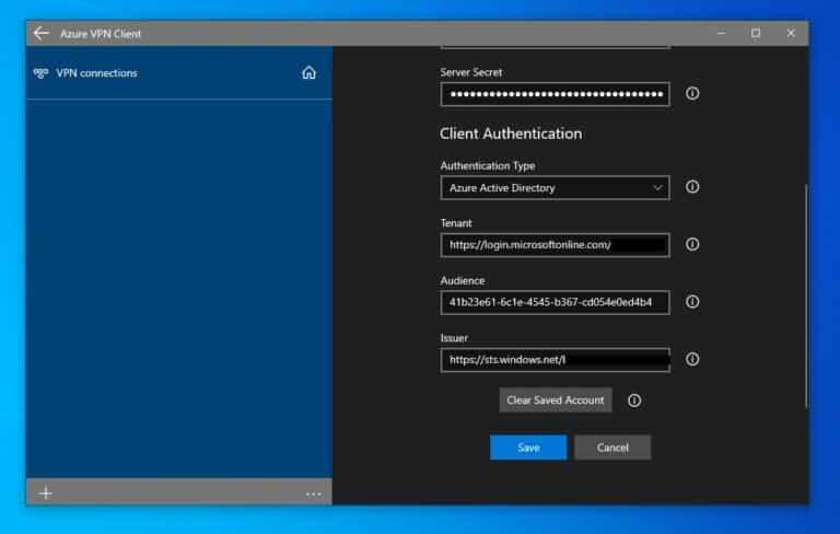 Azure VPN Client Azure AD Configuration