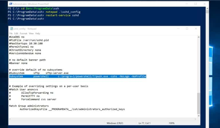 Edit sshd_config for PowerShell Remoting