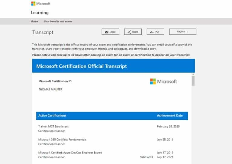 Microsoft Certification Transcript