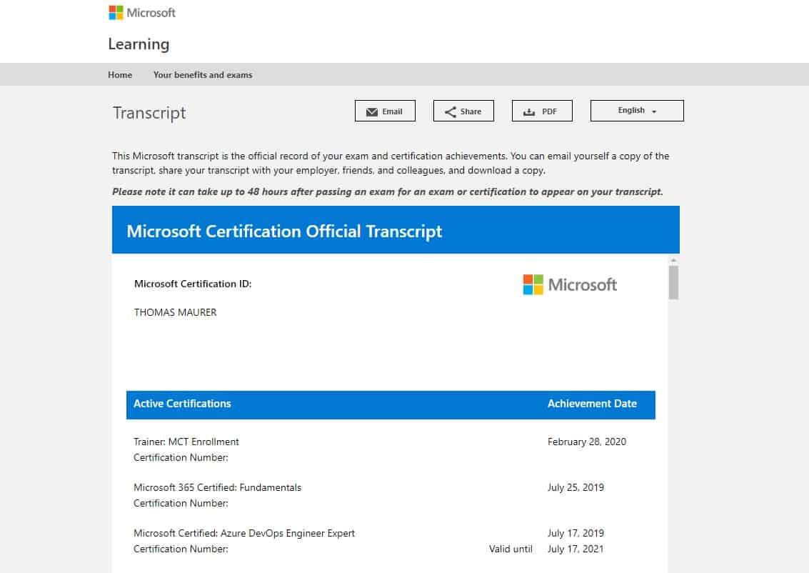 Microsoft Certification Transcript