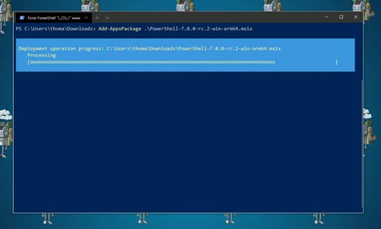 PowerShell 7 on Windows 10 on ARM Surface Pro X
