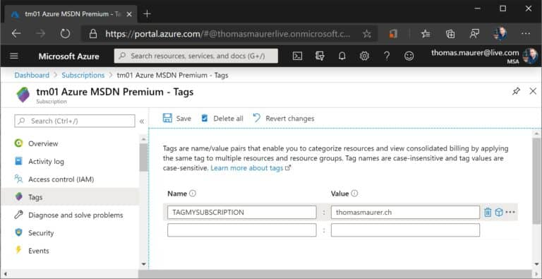 Tags to Azure Subscription